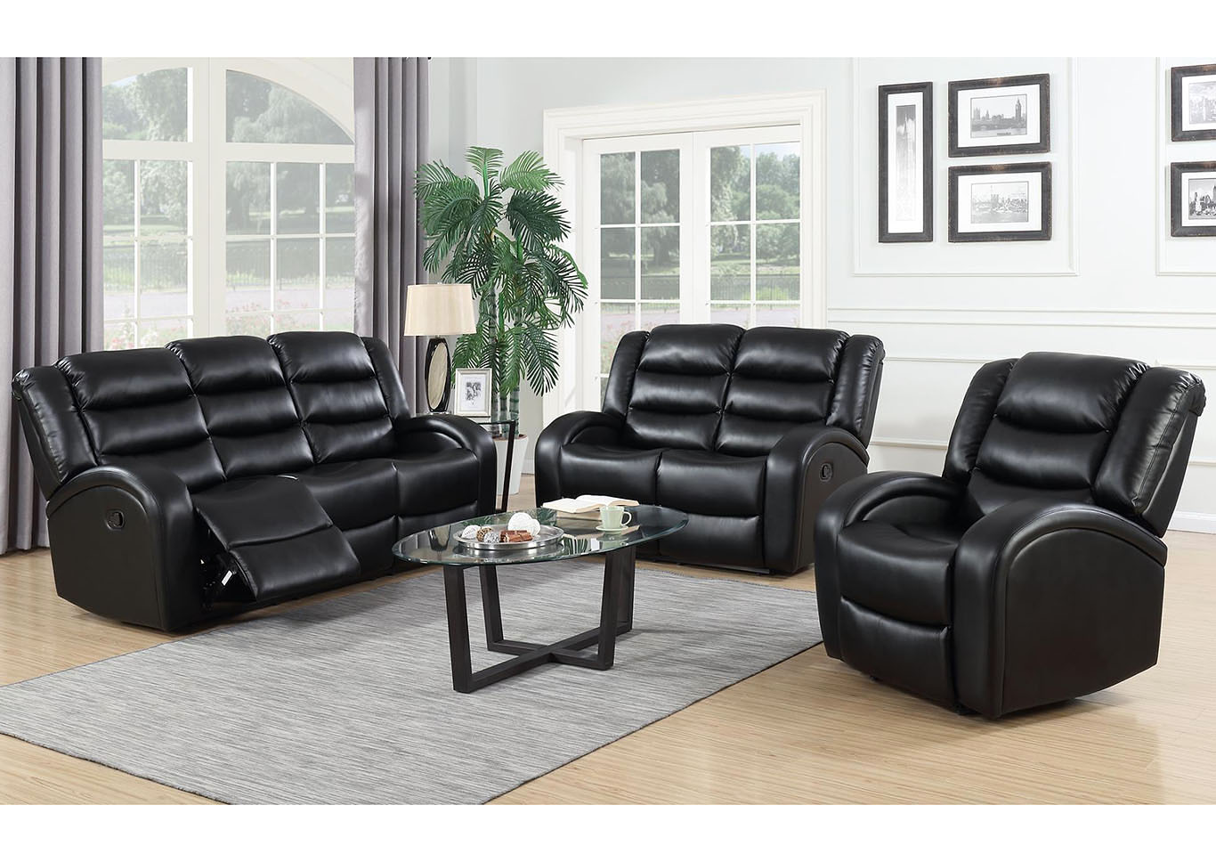 The Home Club Black Leather Reclining Sofa, Loveseat & Recliner
