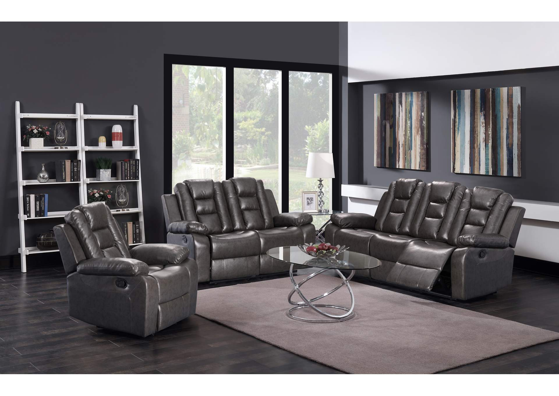 Dark Grey Sofa & Loveseat,Global Trading