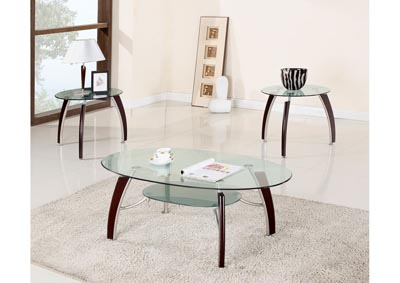 3 Piece Glass Top Coffee & End Table Set