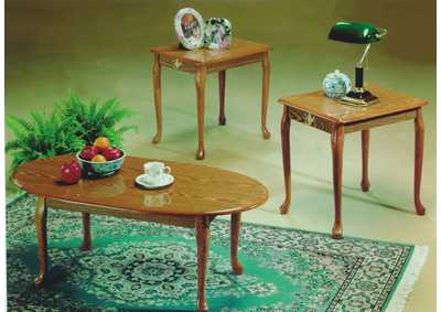 3Pc Oak Queen Anne Coffee U0026 End Table Set