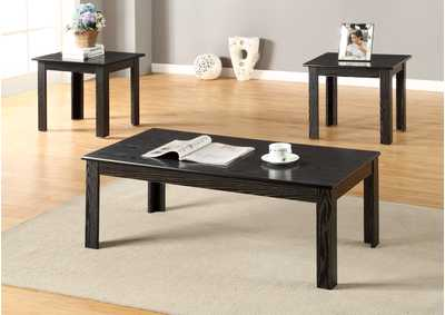 3 Piece Black Parquet Cocktail & End Table Set