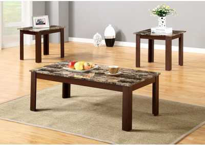 3Pc Faux Marble Top Coffee And End Table Set