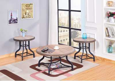3 Piece Oak Coffee & End Table Set