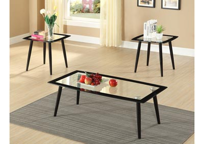 3 Piece Black Coffee & End Table Set