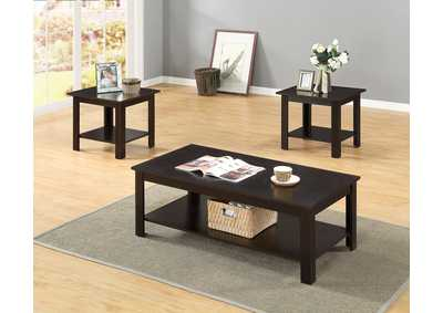 3 Piece Cappuccino Coffee & End Table Set