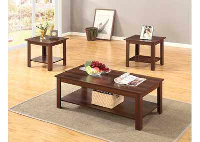 3 Piece Dark Oak Coffee & End Table Set
