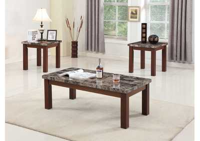 3 Piece Dark Print Marble Top Coffee & End Table Set