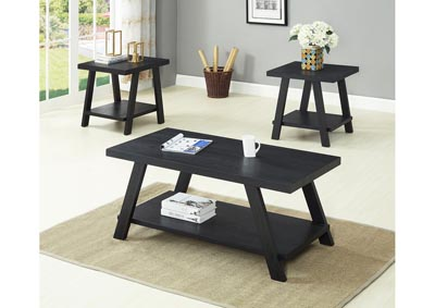 Black 3 Piece Coffee & End Table Set