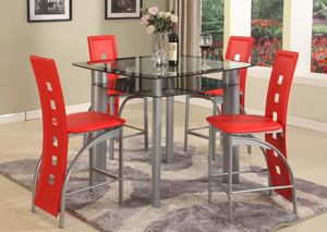 Image for Red PVC Pub Chair (Set of 2)