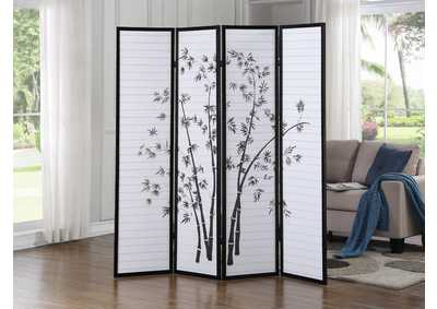 Image for White & Black 4 Panel Screen W/ Bamboo Artwork