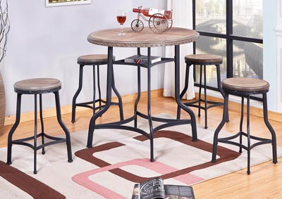 5 Piece Metal Circle Table Top Pub Set