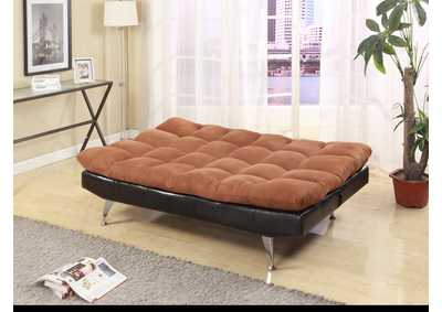 Dark Brown Pu/Microfiber Adjustable Sofa Bed