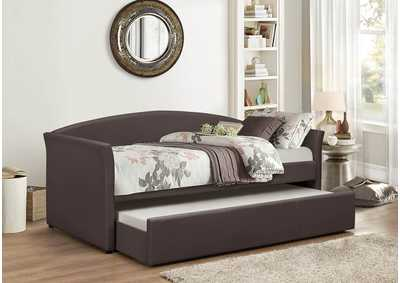 Brown Pu Day Bed w/Trundle and Slats
