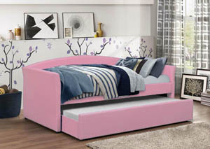 Pink PU Day Bed w/Trundle & Slats