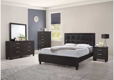 Dark Grey Panel Queen 5 Piece Bedroom Set W/ Nightstand, Chest, Dresser & Mirror