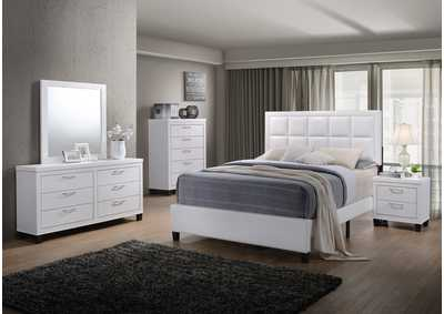White PU King Bed