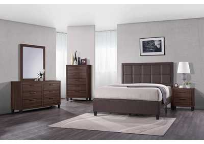 Grey & Brown Panel Queen 4 Piece Bedroom Set W/ Nightstand, Dresser & Mirror