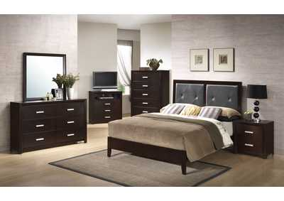 Cappuccino Panel Queen 6 Piece Bedroom Set W/ 2 Nightstand, Chest, Dresser & Mirror