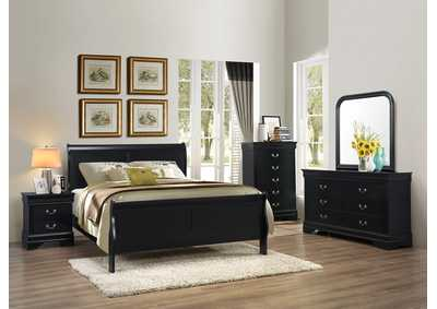 Black Sleigh Queen 5 Piece Bedroom Set W/ Nightstand, Chest, Dresser & Mirror