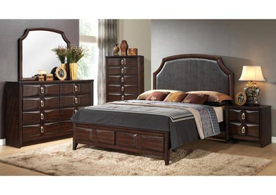 Brown Storage Queen 4 Piece Bedroom Set W/ Chest, Dresser & Mirror