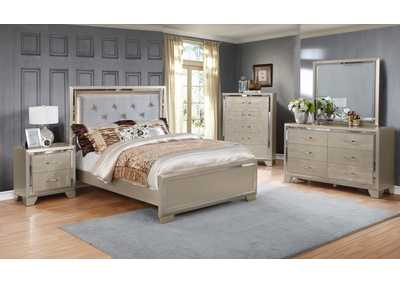 Rozzelli Pearl Panel Queen 5 Piece Bedroom Set W/ Nightstand, Chest, Dresser & Mirror