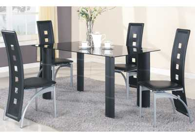 5Pc Black Tempered Glass Top Dinette