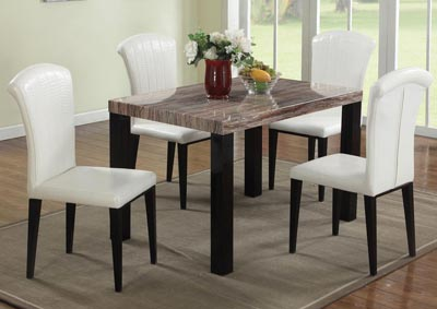 Marble Dining Room Table W/4 White Chairs