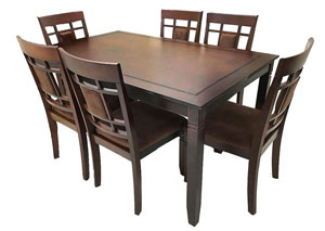 7 Piece Wooden Dinette Set w/Pu Cushions