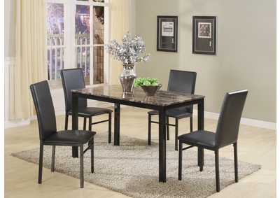 Image for Black Marble Dinette W/ 4 Chairs