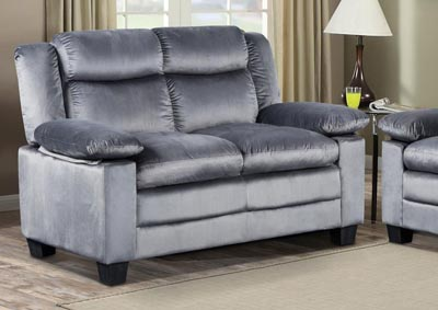 Silver Grey Reclining Loveseat