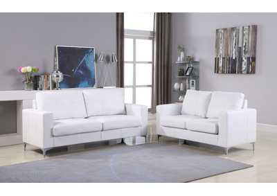 White Contemporary Leather Loveseat (White) With Chrome Leg