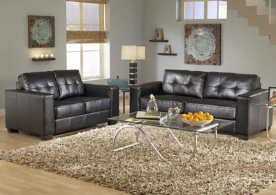 Brown Contemporary Leather Sofa & Loveseat