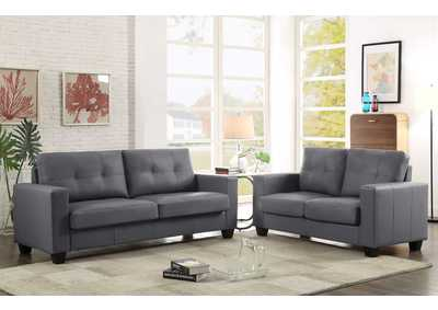 Grey Contemporary Leather Sofa & Loveseat