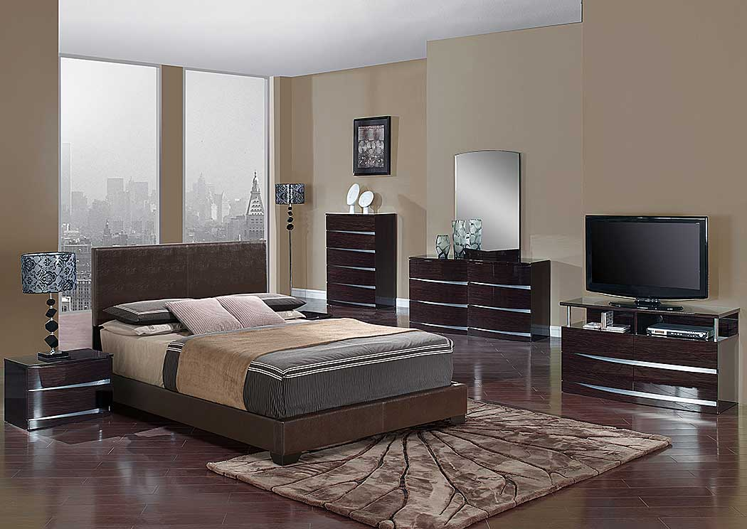 Brown Gloss Full Platform Bed w/Aurora Dresser & Mirror,Global Furniture USA