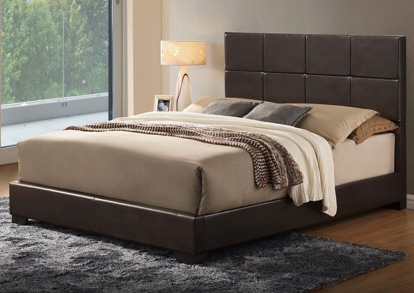 Brown Gloss Queen Platform Bed,Global Furniture USA