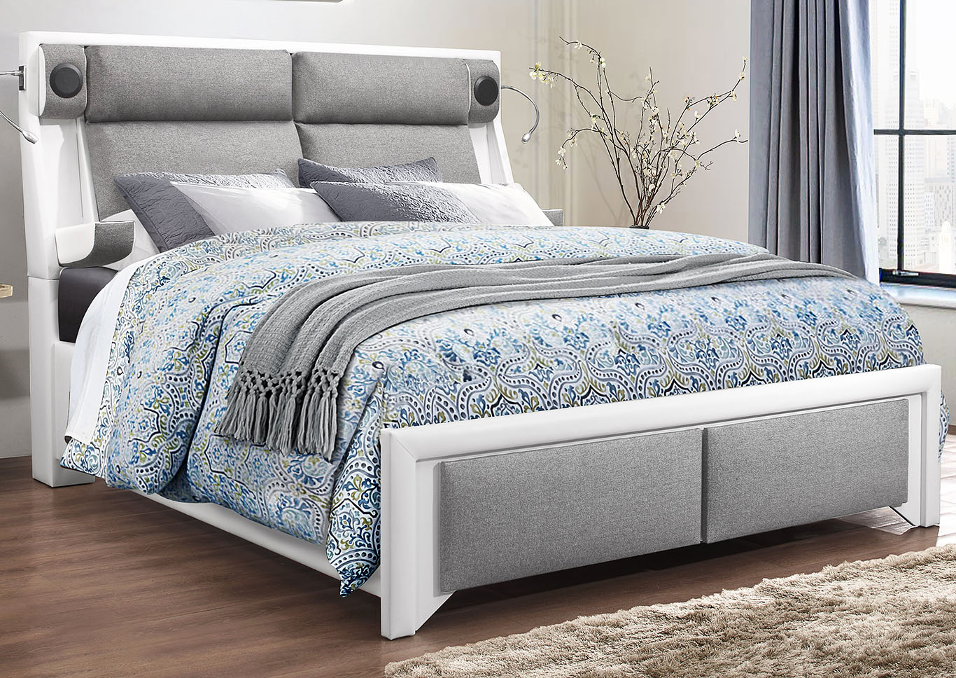 9652 White King Bed,Global Furniture USA
