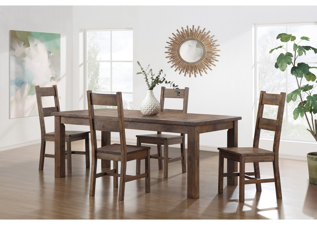 Superior Atlantis Walnut Dining Table Set W/4 Chairs,Global Furniture USA
