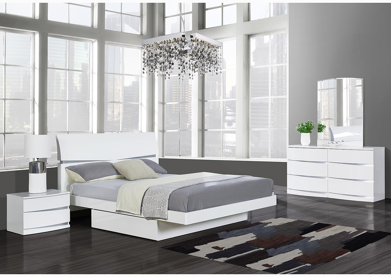 Aurora White Full Storage Platform Bed w/Dresser and Mirror,Global Furniture USA