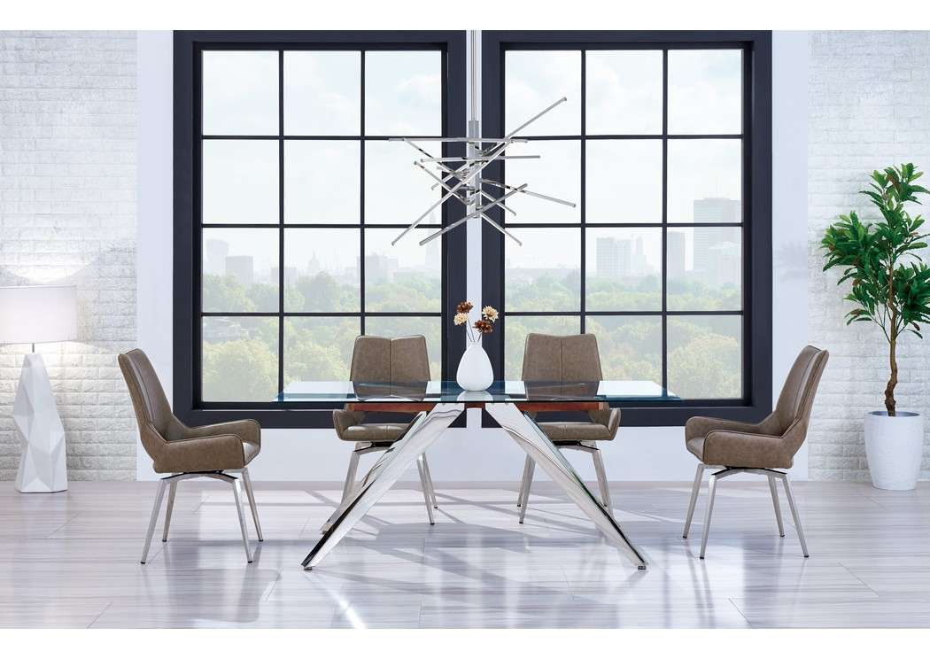 Brown Glass Top Dining Table W 4 ChairsGlobal Furniture USA