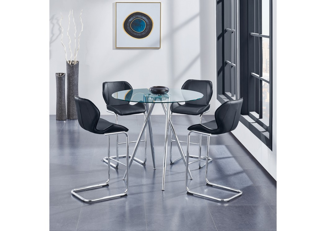 Glass-Top Round Bar Table w/4 Black Barstools,Global Furniture USA