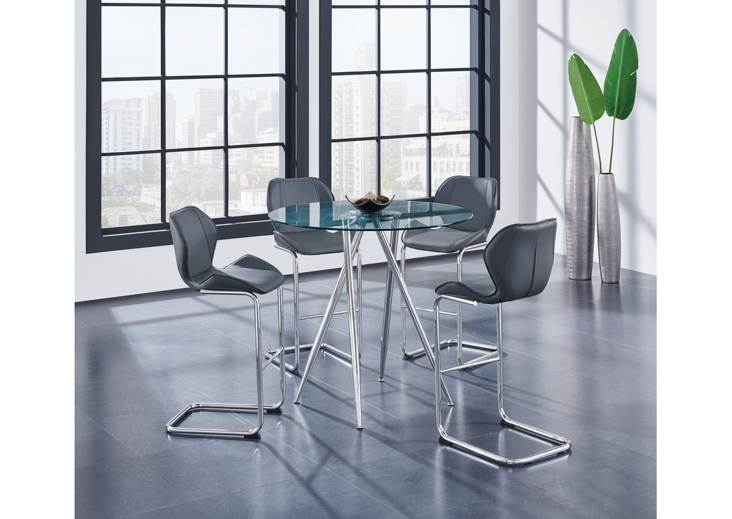 Glass-Top Round Bar Table w/4 Gray Barstool,Global Furniture USA