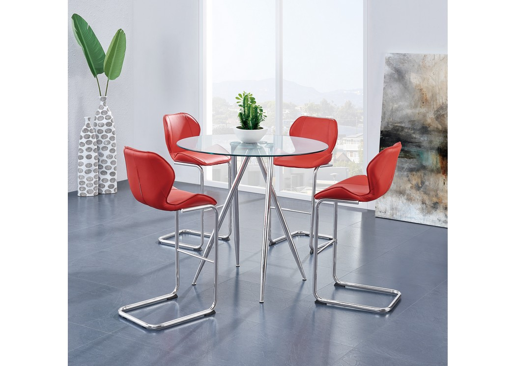 Glass-Top Round Bar Table w/4 Red Barstools,Global Furniture USA