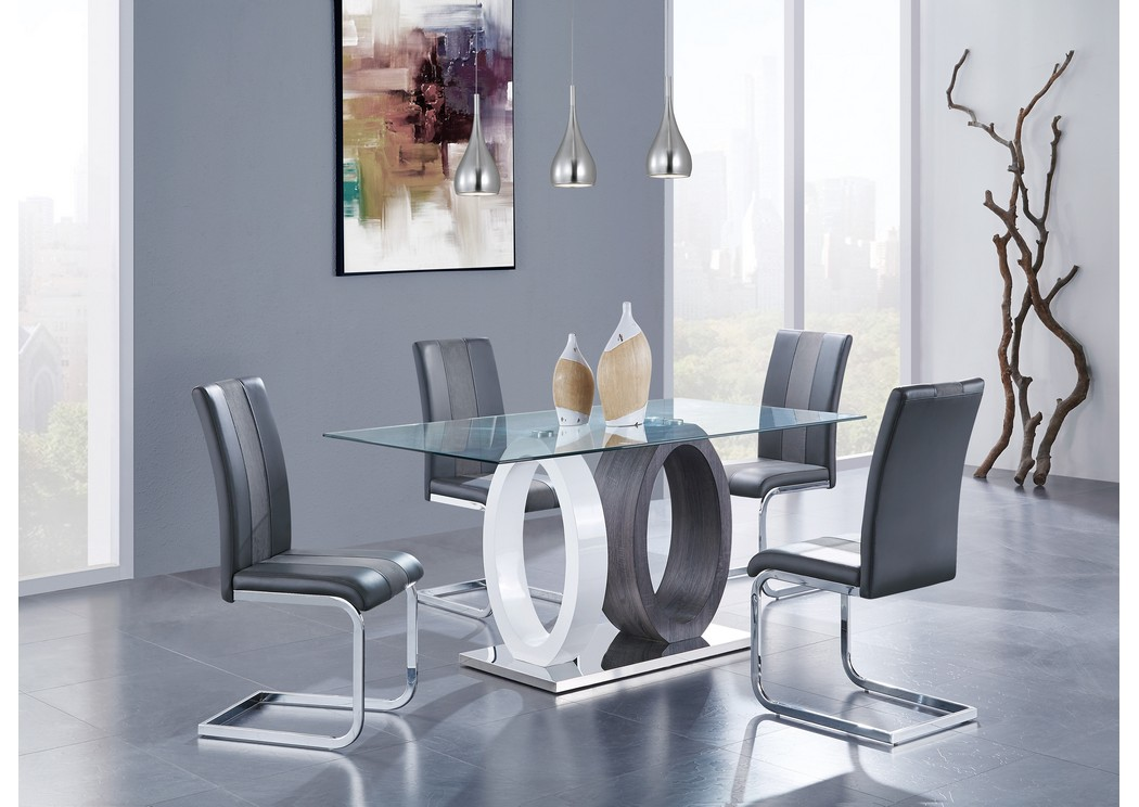 White/Grey Glass-Top Dining Table w/4 Chair,Global Furniture USA