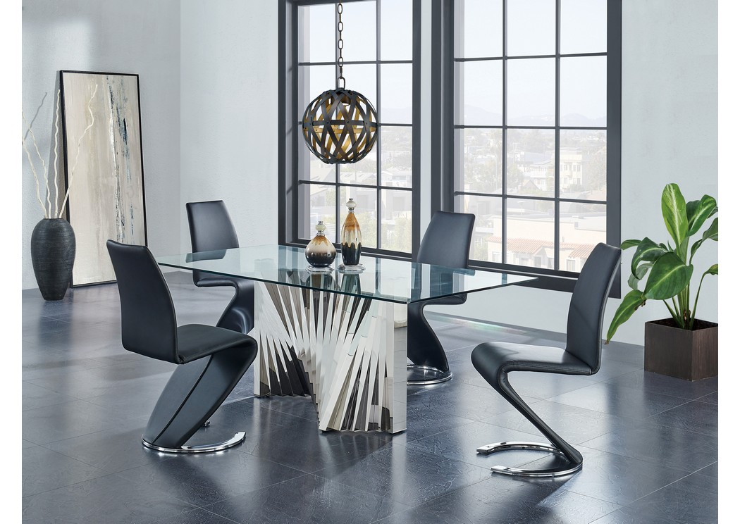 Glass-Top Dining Table w/4 Black Dining Chair,Global Furniture USA