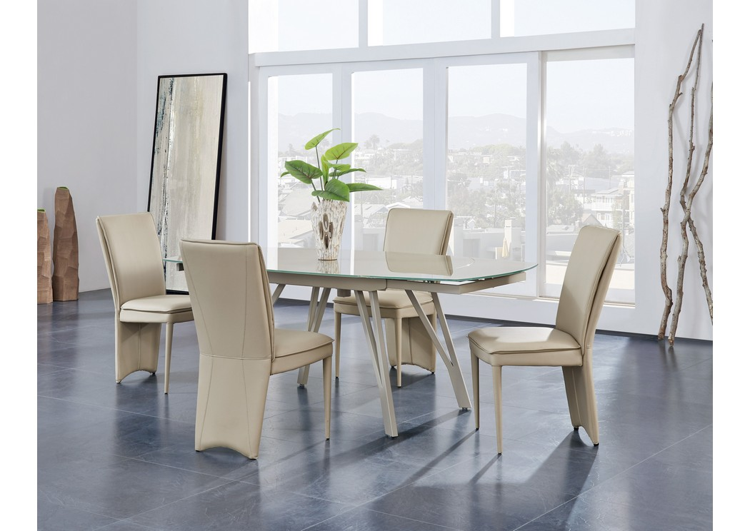 Champagne Glass Top Dining Table W 4 ChairsGlobal Furniture USA