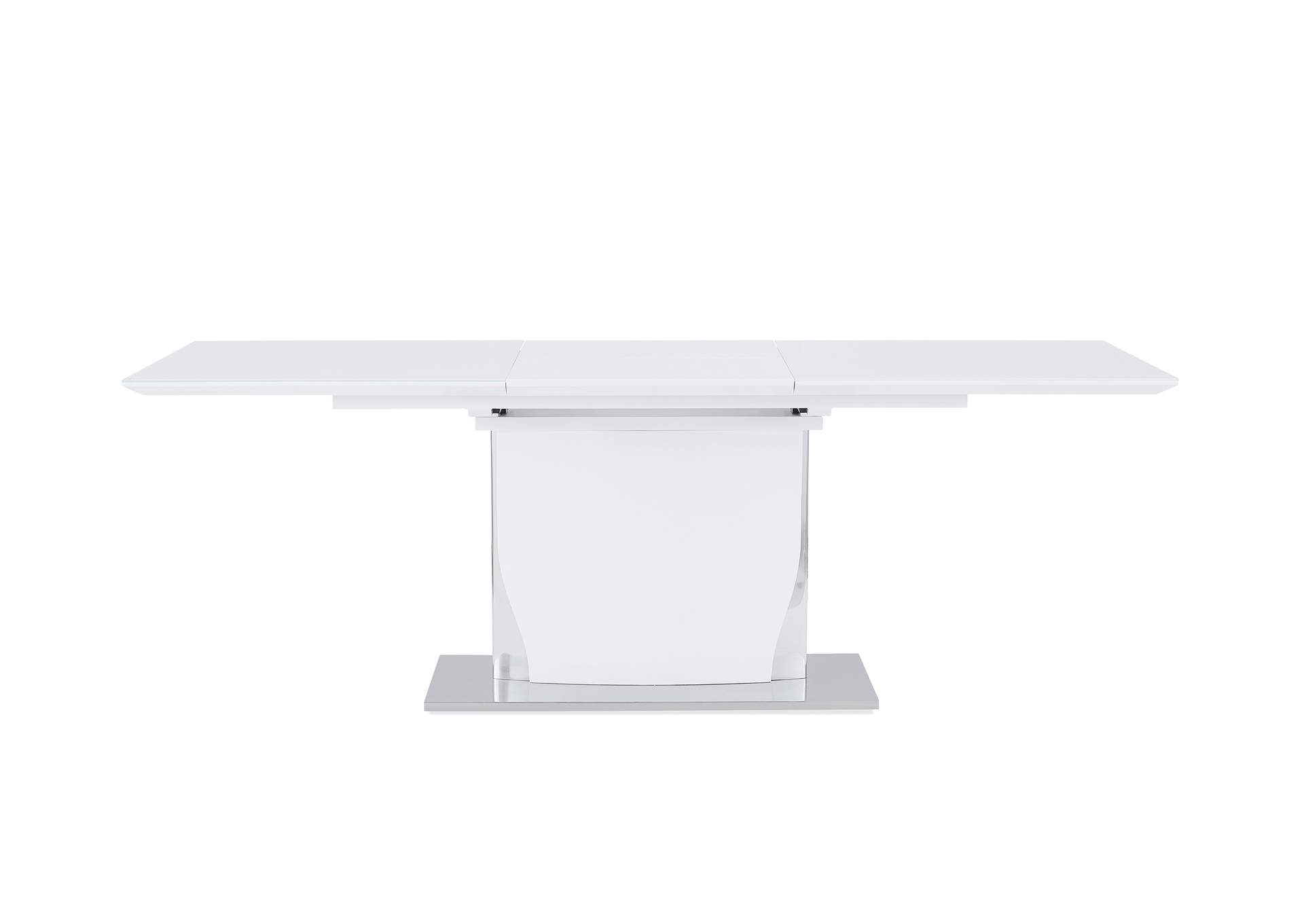 White Rectangular Extendable Dining Table,Global Furniture USA