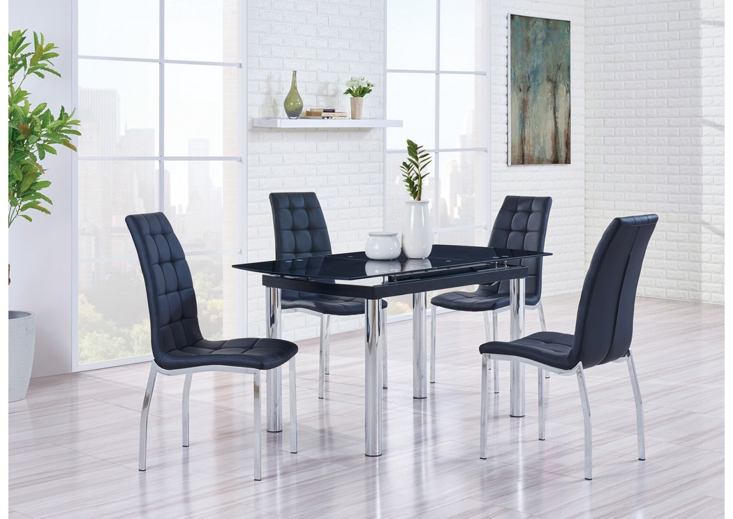 Black Glass-Top Dining Table w/4 Dining Chairs,Global Furniture USA