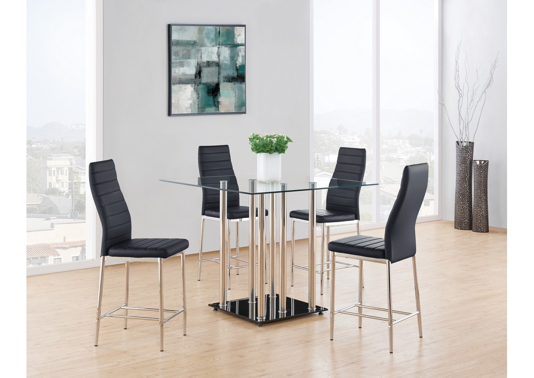 Glass-Top Square Bar Table w/4 Barstool,Global Furniture USA
