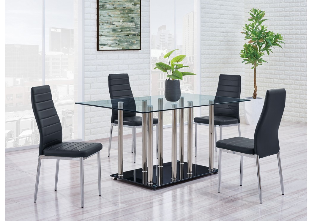 Black/Chrome Dining Table w/4 Black Dining Chair,Global Furniture USA