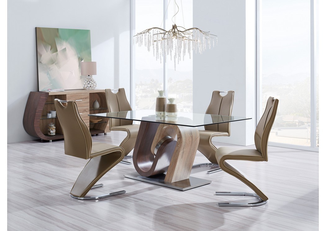 Brown Walnut Glass-Top Dining Table w/4 Dining Chairs,Global Furniture USA